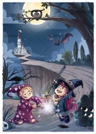 boy wizard and witch with night landscape with castle