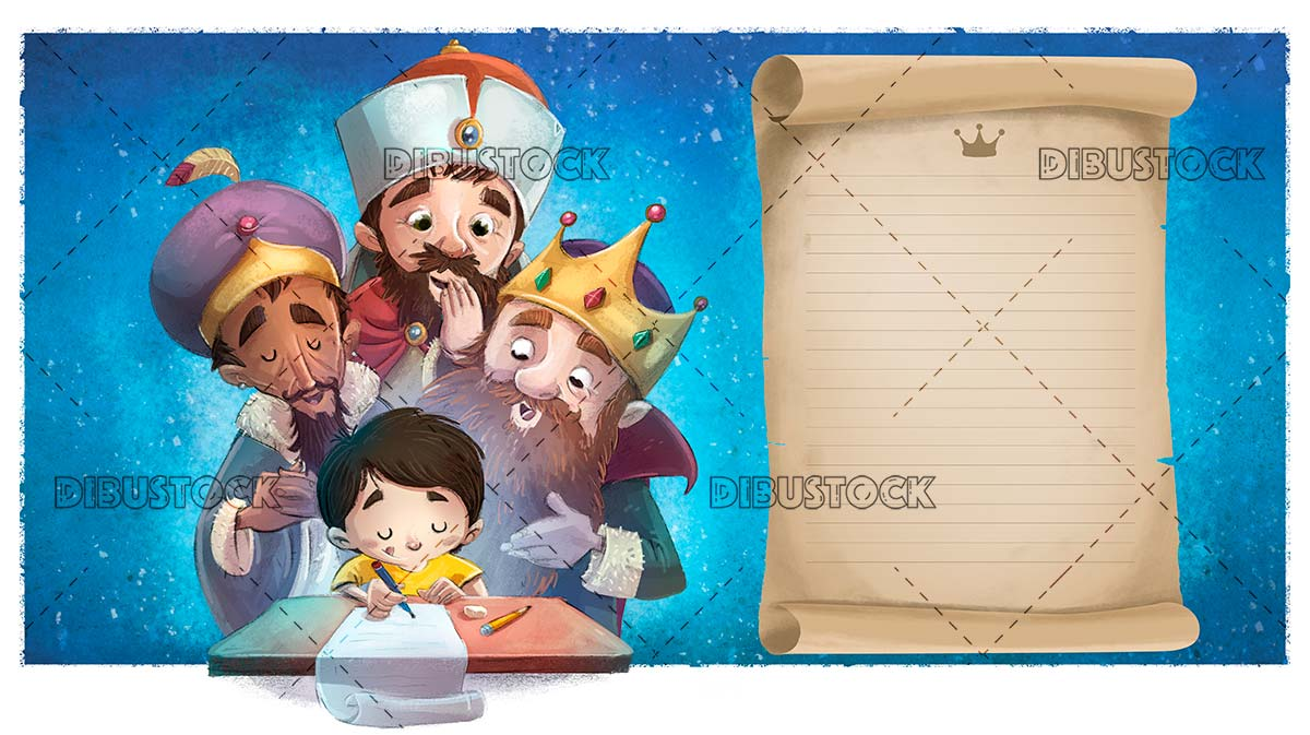 boy writing a card to the wise men at christmas