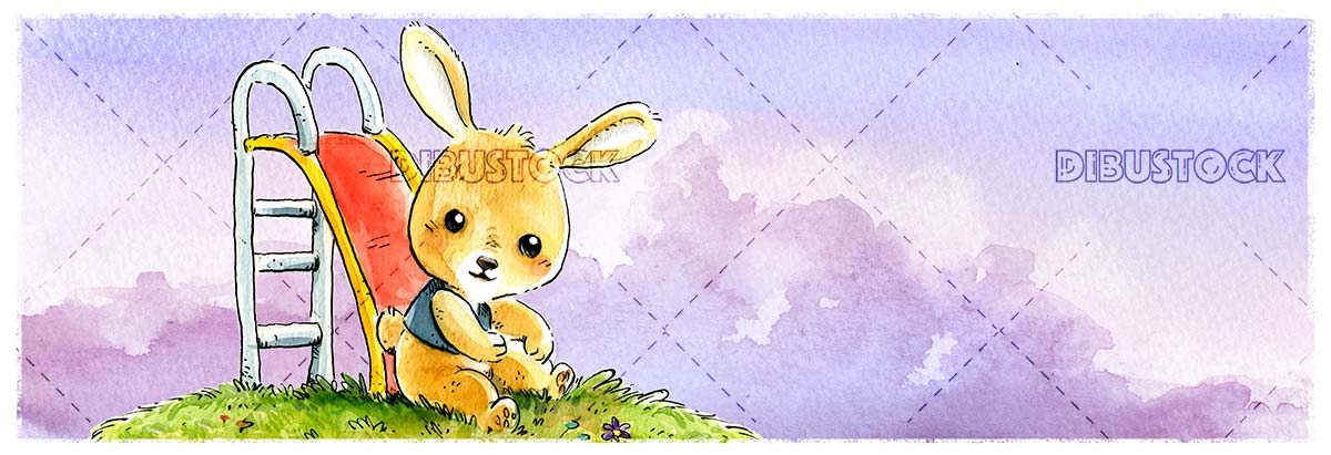 bunny playing on slide with watercolor