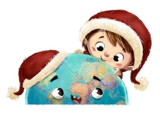 cara de tierra feliz y niño con sombreros de navidad