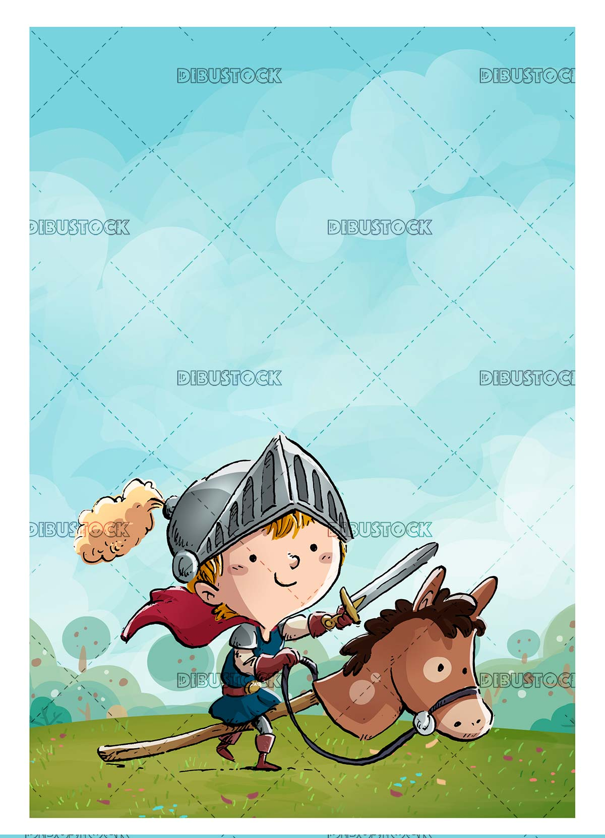 child gentleman with toy horse in the field