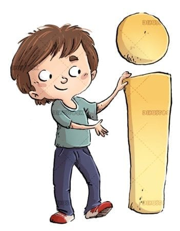 child with giant information symbol