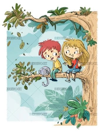 children and cat climbed a tree branch in nature