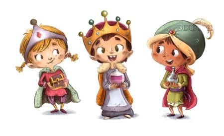 children dressed as magic kings with gifts isolated