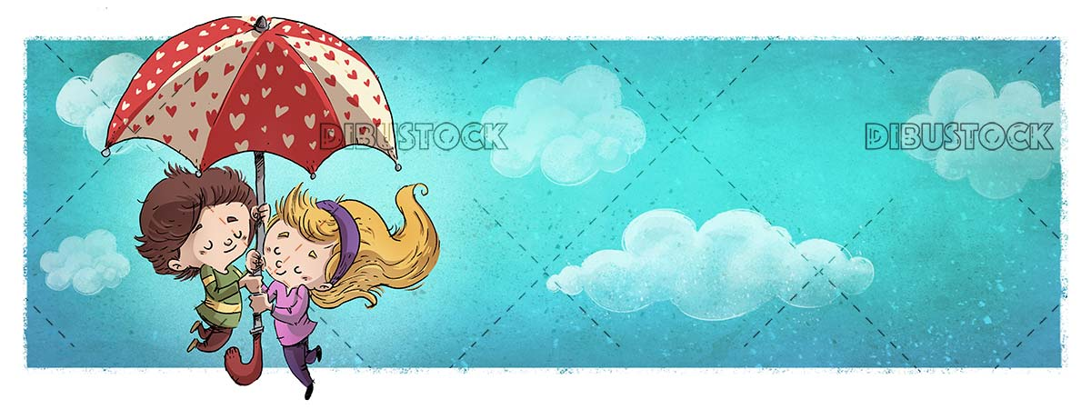 children in love with umbrella of hearts flying through the sky