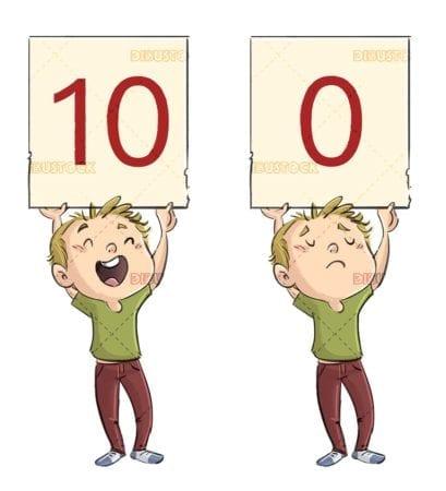 children marking a score on big sign