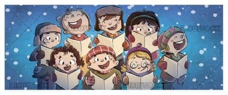 children singing in a choir while it snows