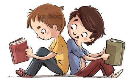 children sitting together while reading books