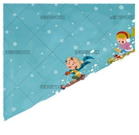 children sledding down a snow slope at full speed