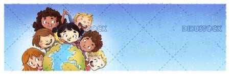 children surrounding the planet earth on blue background