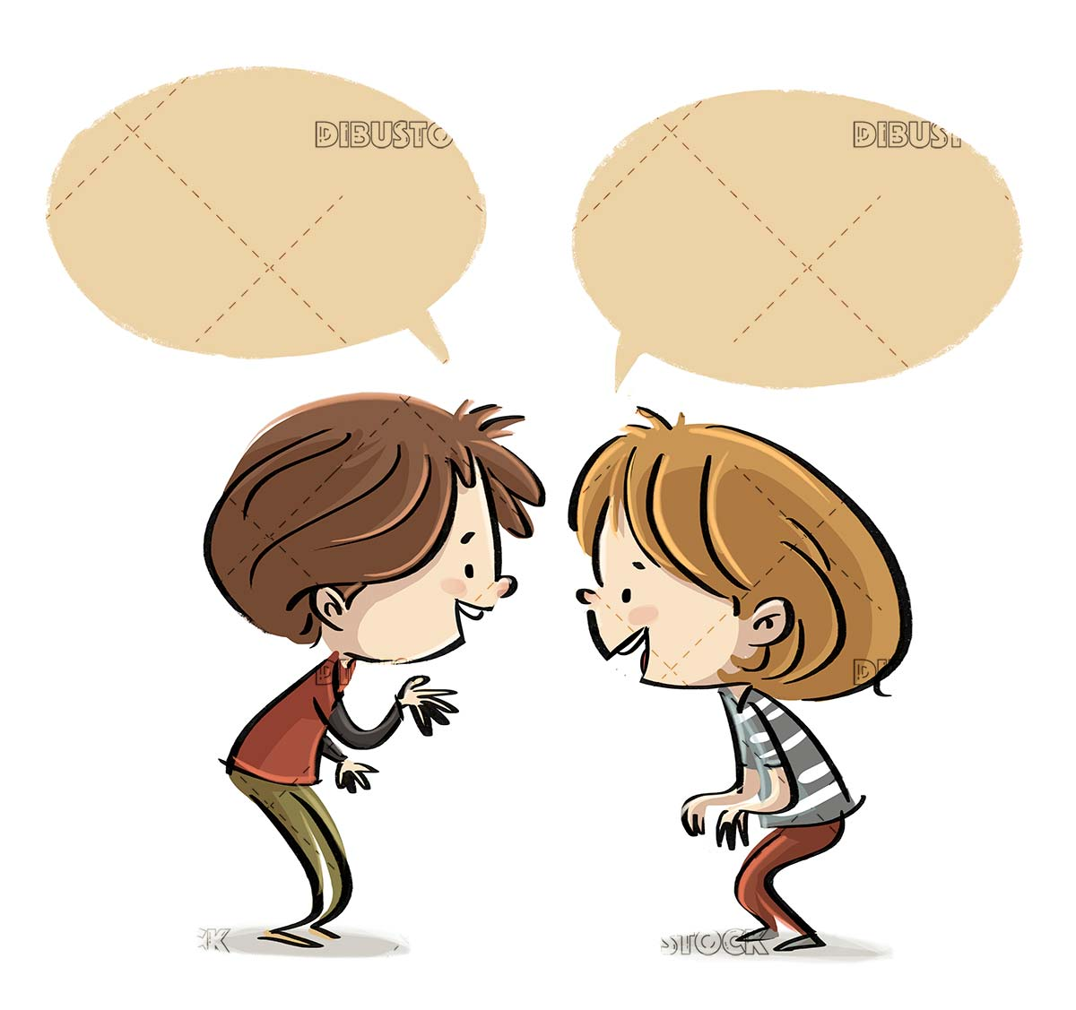 children talking face to face