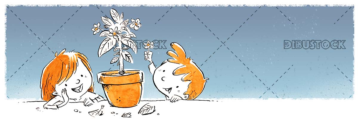 children watching a pot with flowers in blue background