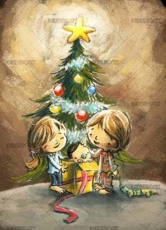 children with christmas tree and baby coming out of a gift