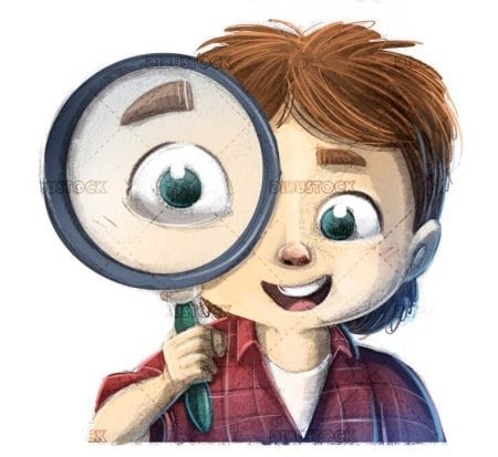 childs face with magnifying glass in the foreground