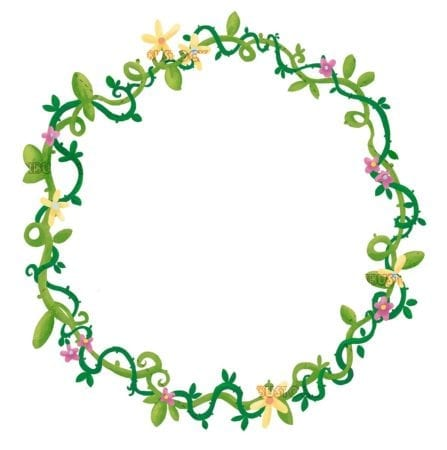 circular floral frame isolated
