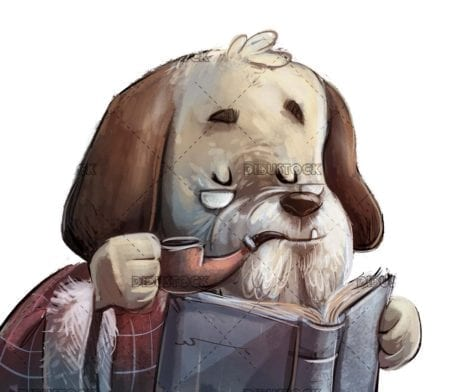 classic dog smoking with a pipe and reading a book with isolated background
