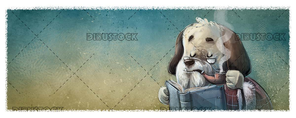 classic dog smoking with a pipe and reading a book