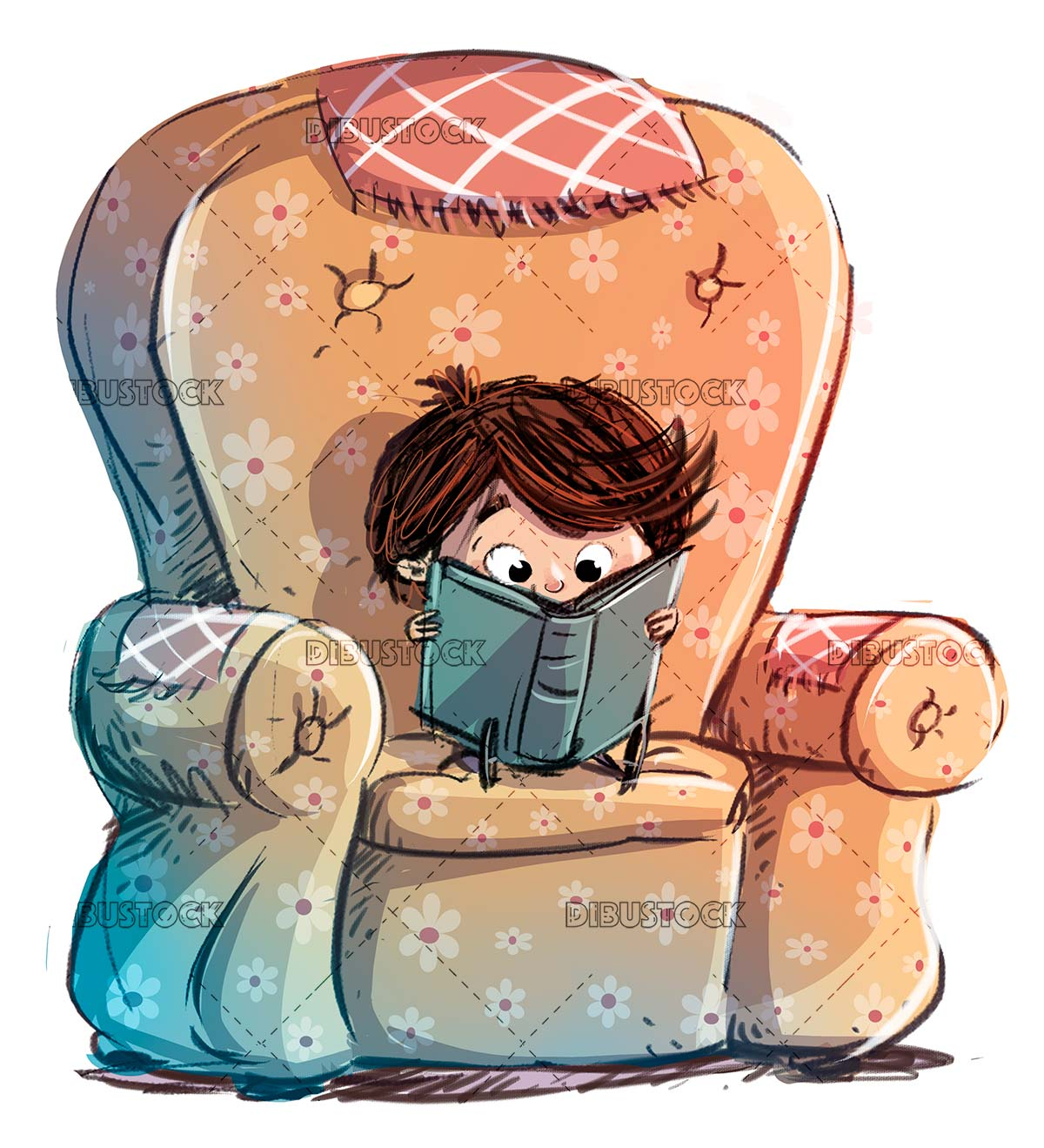 concentrated boy reading in an armchair isolated