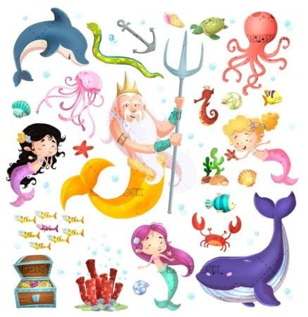 concepts of little mermaids and marine elements