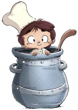 cook boy inside a giant pot