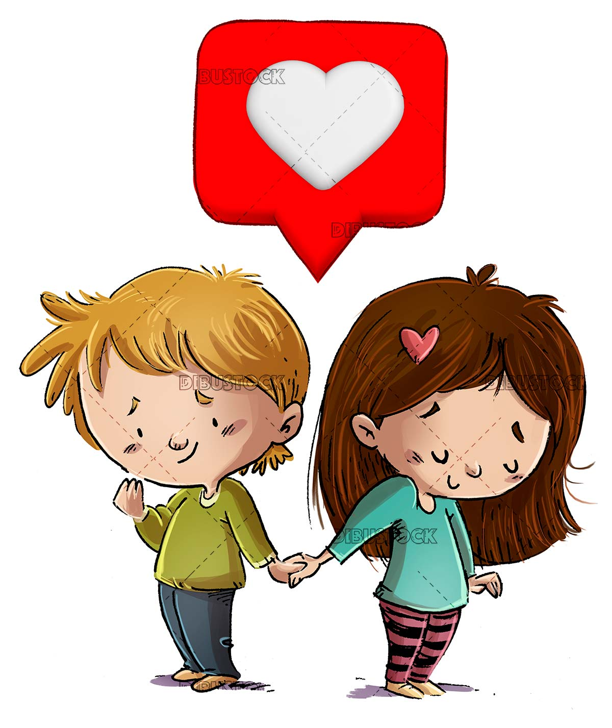 couple of children in love with a heart over