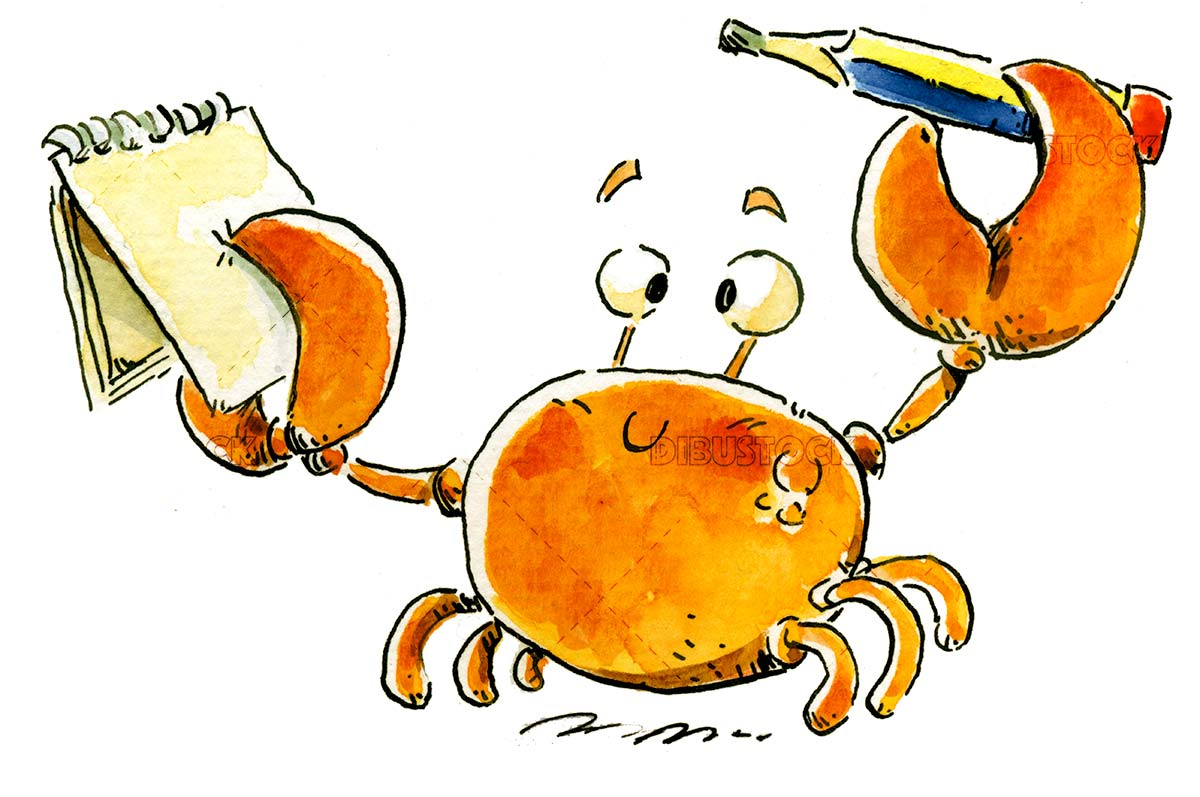 crab with pencil and notebook
