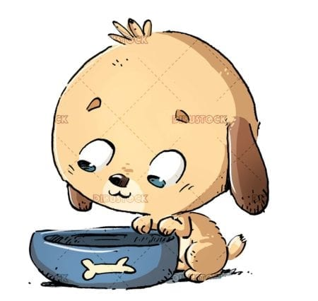 dog with a bowl of food