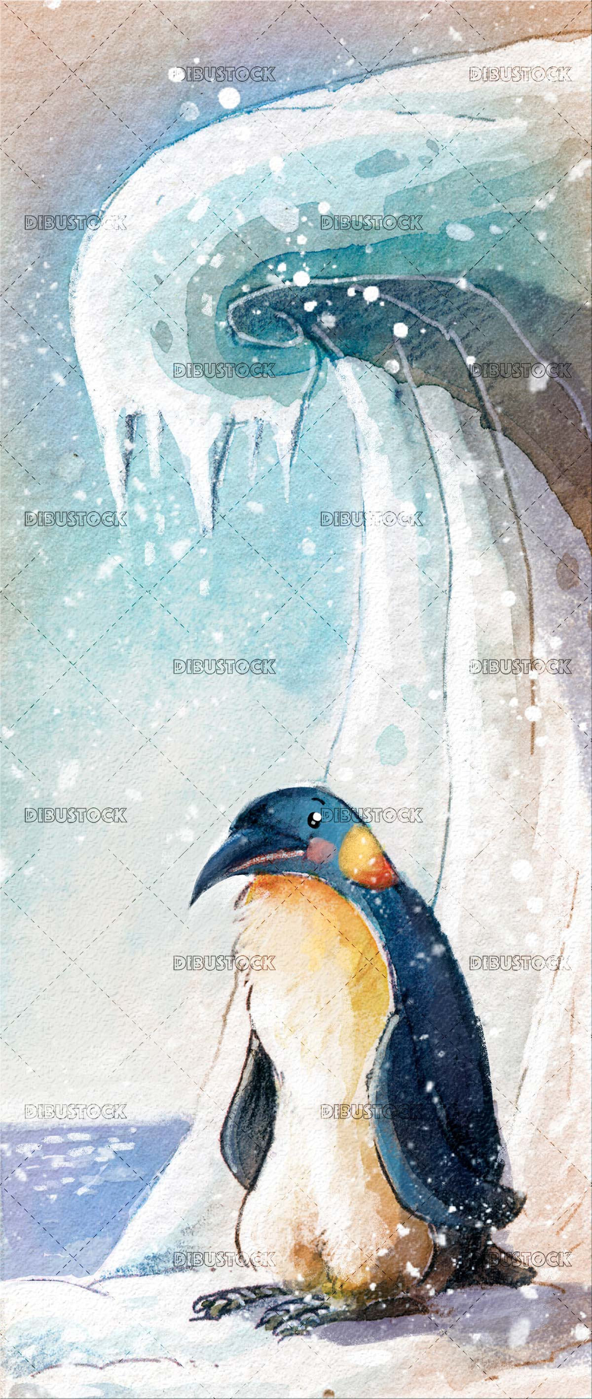 emperor penguin with a snow background