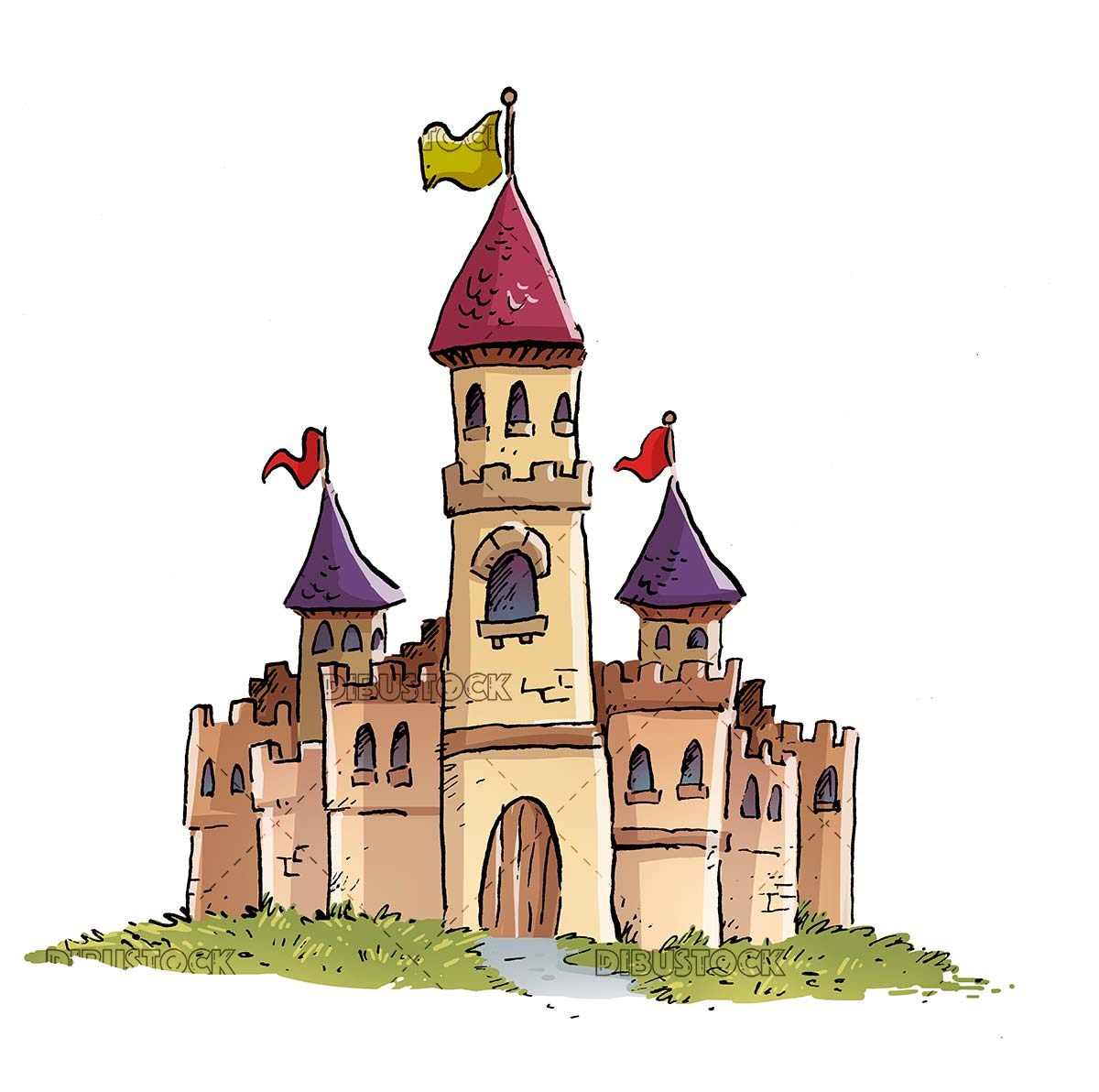 enchanted medieval castle isolated