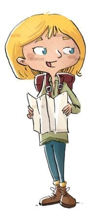 explorer girl with map isolated