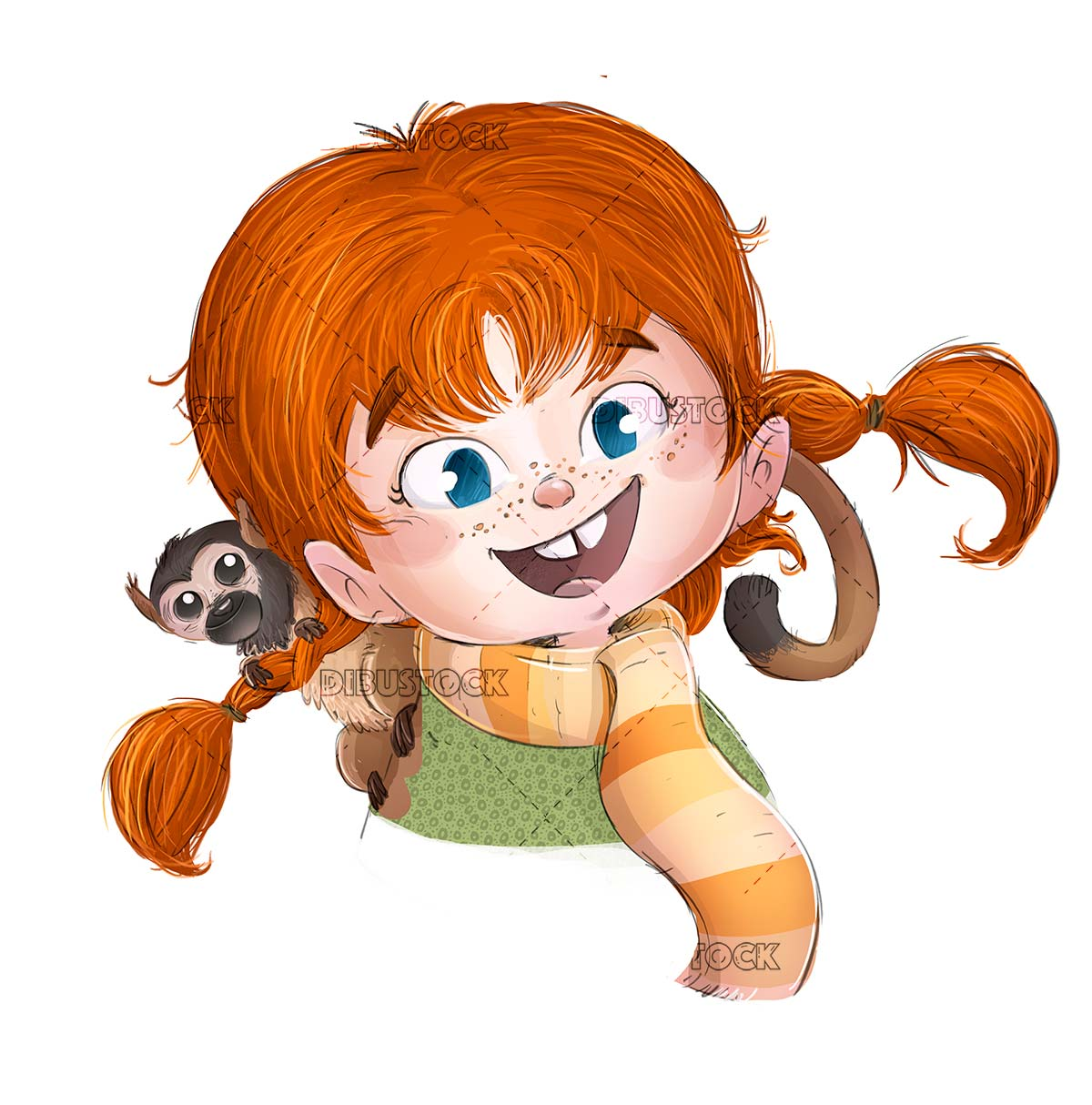 face of redhead girl with pigtails and a monkey isolated