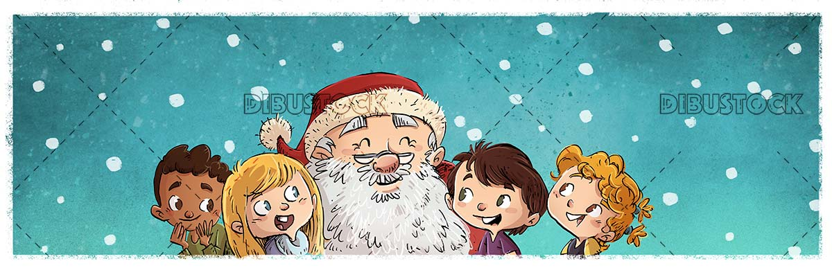 faces of santa claus and children of different ethnicities with snowing background