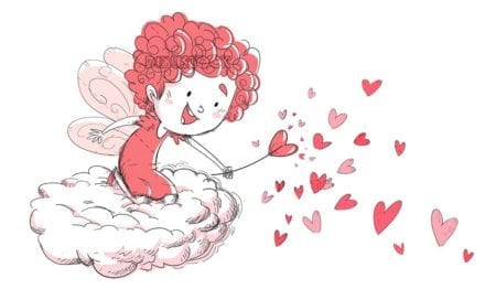 fairy of hearts climbed on a cloud with her wand isolated