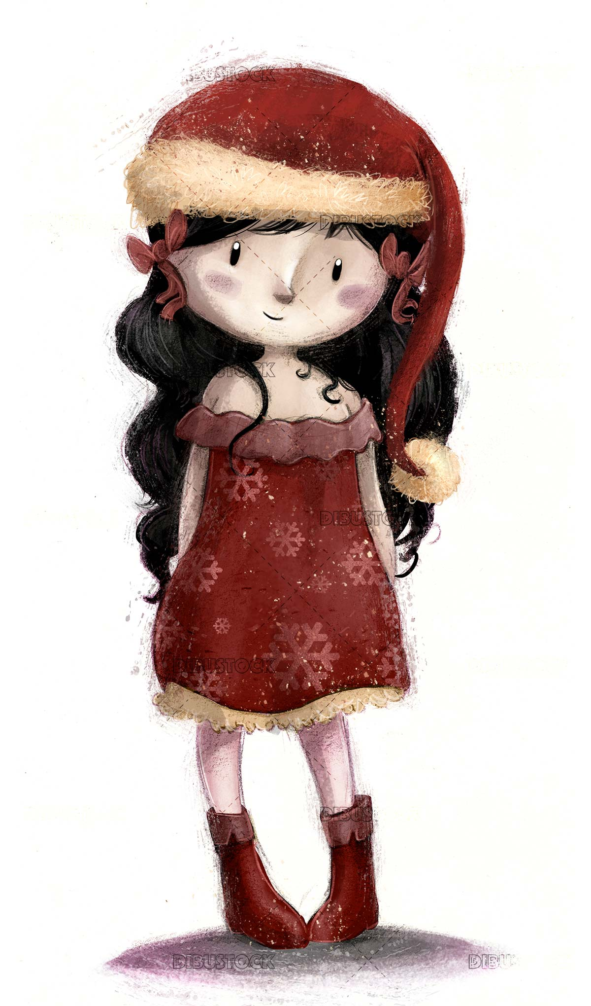 fashion girl wearing santa claus dress isolated