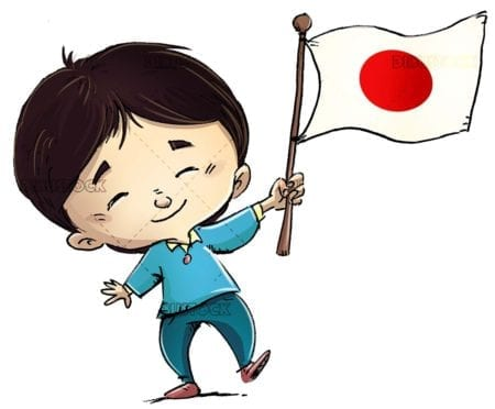 funny boy with flag of Japan