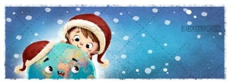 funny earth face and child with christmas hats