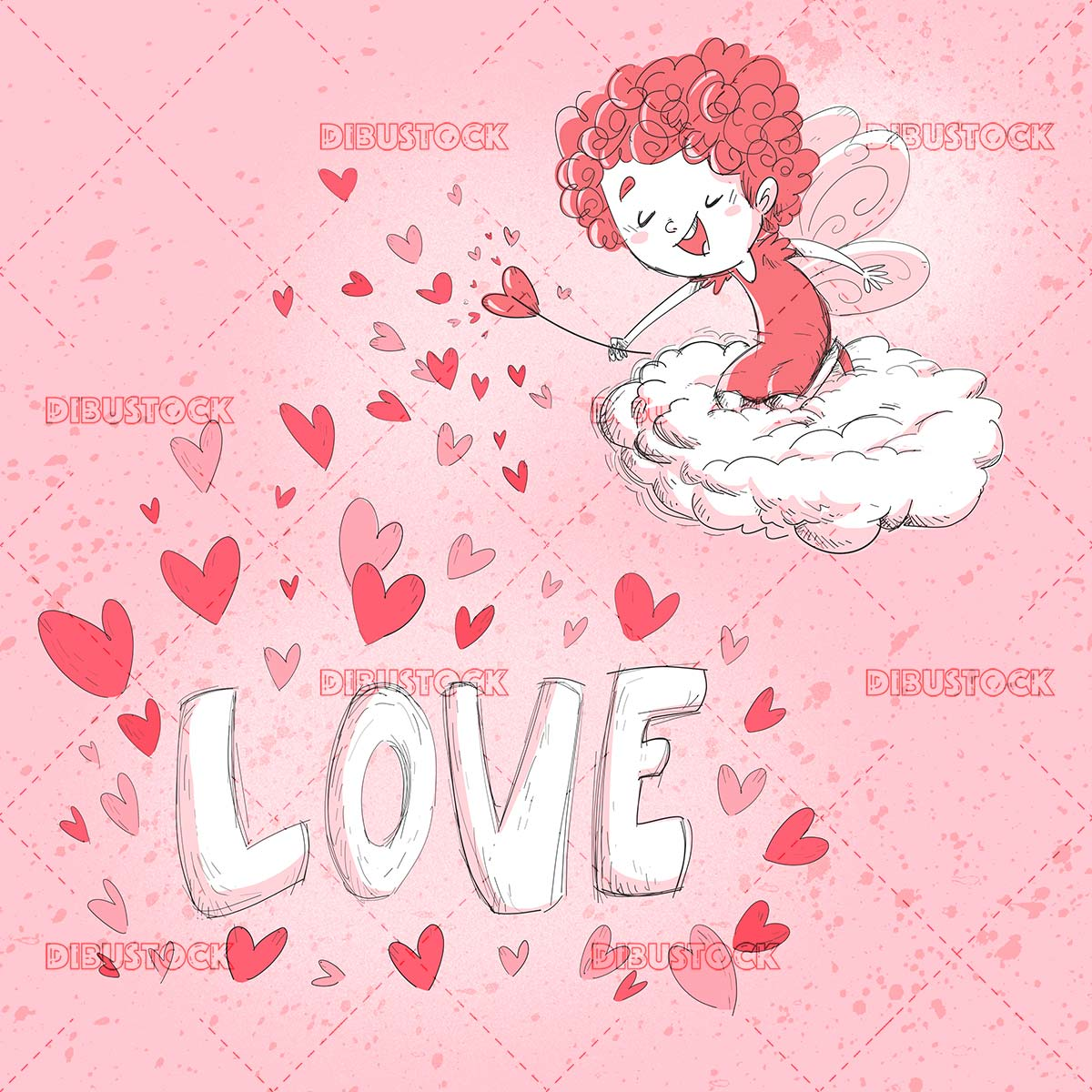 funny fairy in a cloud making hearts on pink background