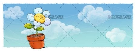 funny flower with blue sky with clouds