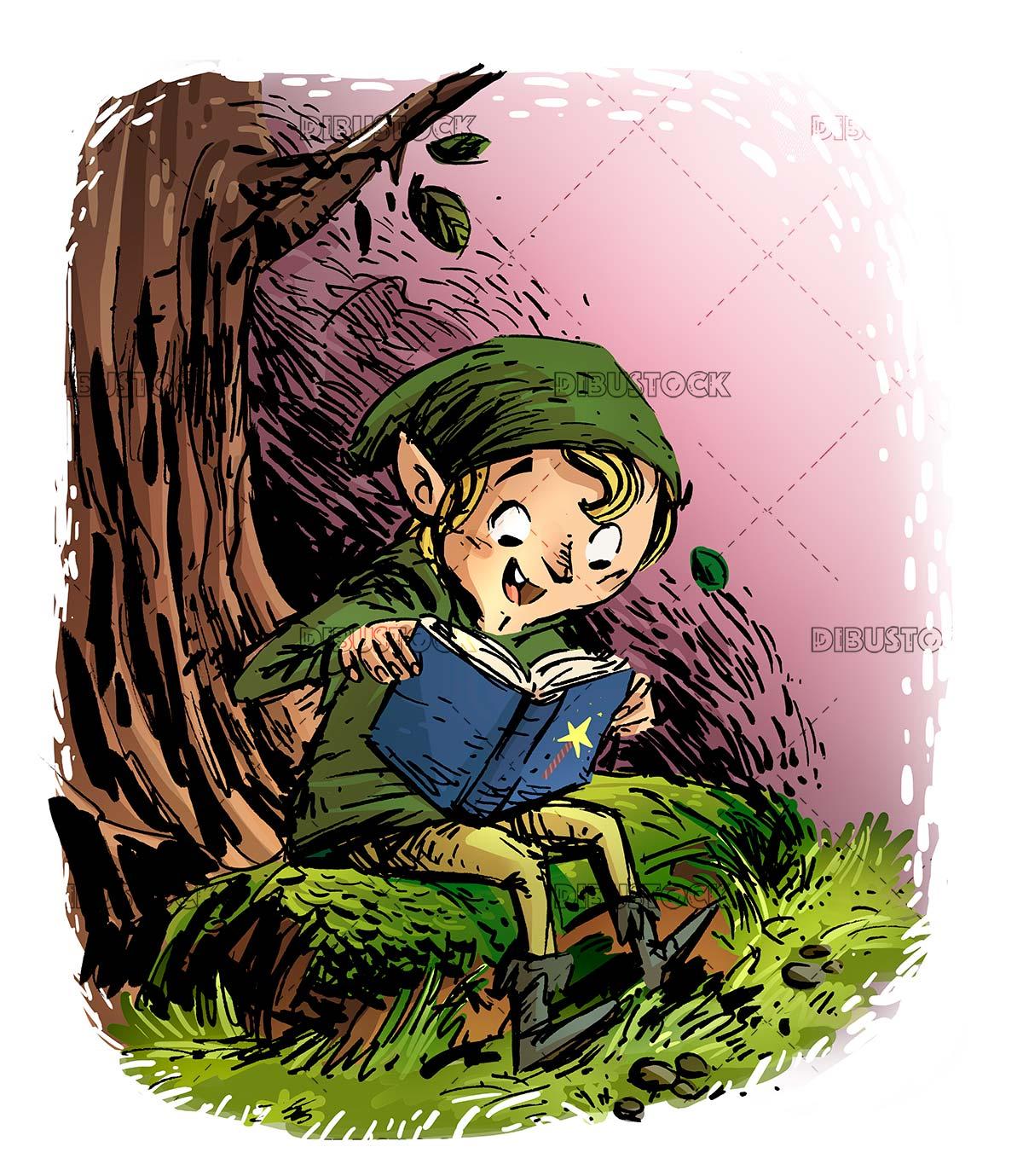 funny leprechaun reading a book under a tree