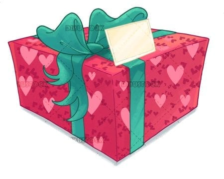 gift with bow and congratulation