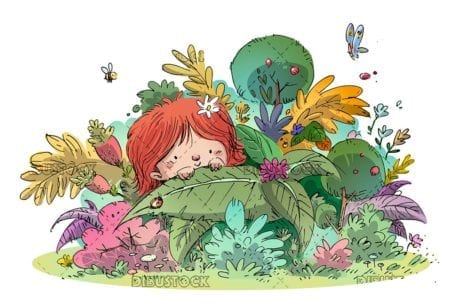 girl hidden among the plants in nature isolated