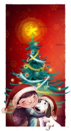 girl hugging her dog with christmas tree in the background
