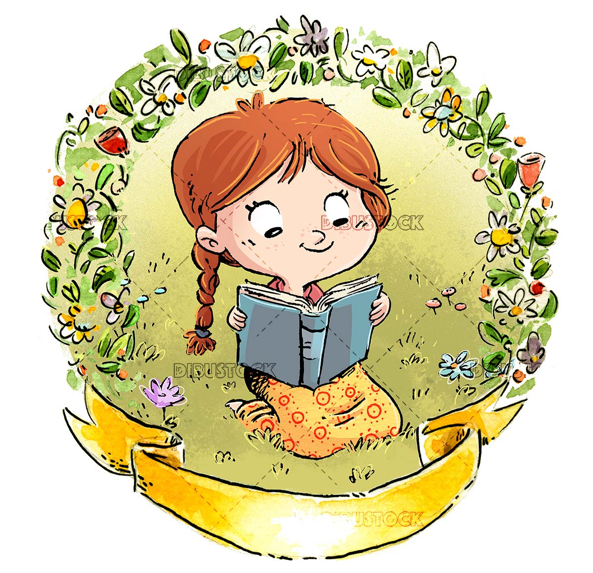 girl reading a book with flower border