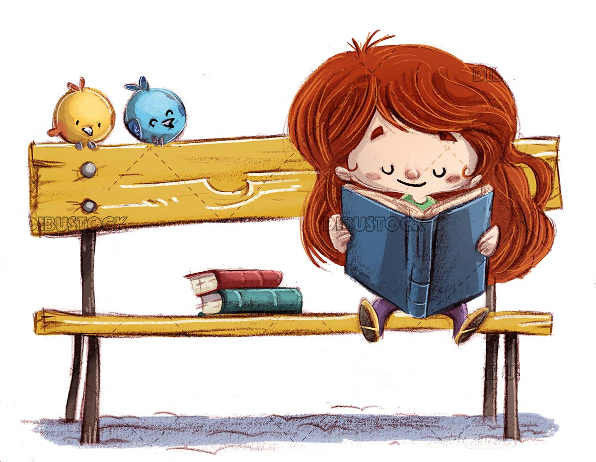 girl sitting on a bench reading with birds