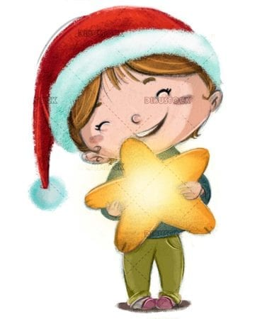 girl with christmas hat with star in her arms