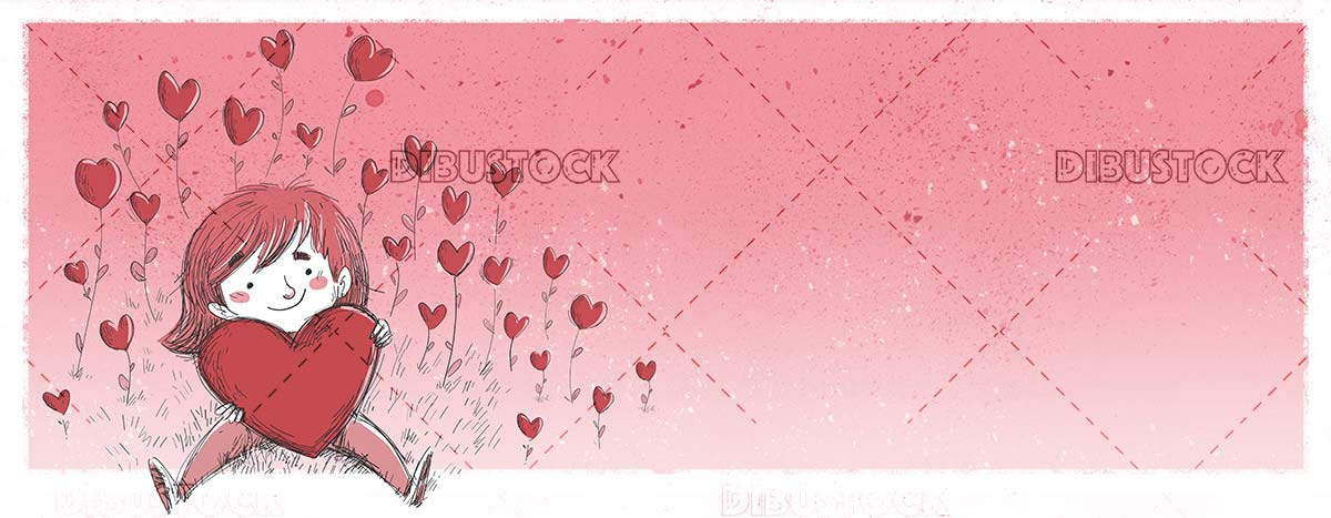 girl with giant heart in a field of hearts