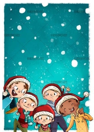 group of happy boys with their christmas hats and snowing in the background