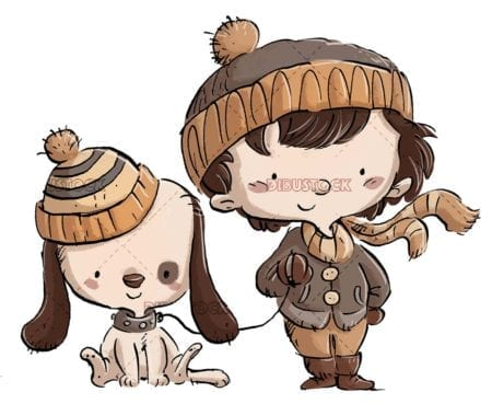happy boy and dog with caps in winter