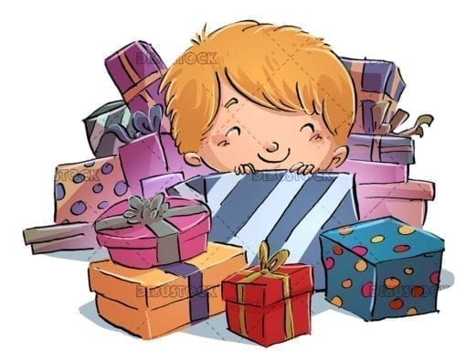happy child surrounded by colorful gifts