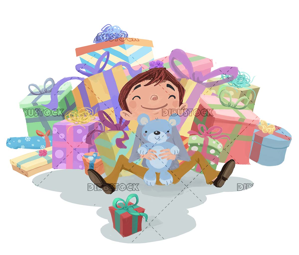 happy child surrounded by lots of presents on isolated background